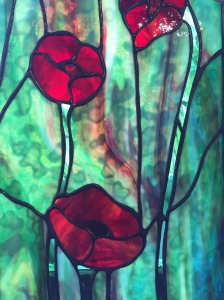 "Stained Glass by Julie Rutherford ""POPPIES"" $350"