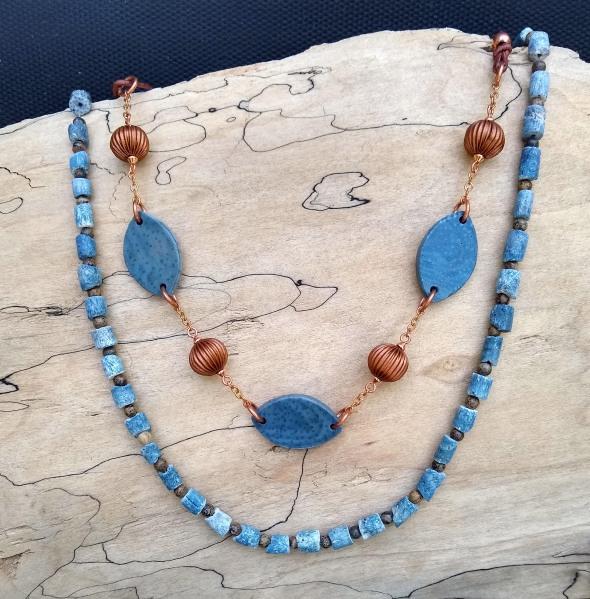 #751 Blue coral necklaces